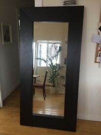 2x large decorative mirrors with dark wood frame