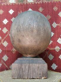 very large antique oak globe finial, great patina 32cm in diameter