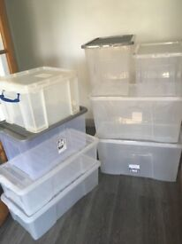 8 large storage boxes. £50. Collect from West Croydon.