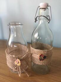 10 small bottles and stopper bottles decorated with hessian - rustic vintage wedding