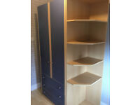 Schreiber Double Wardrobe with 3 Drawers in Blue/Beech Effect
