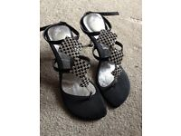 Mademoiselle black and silver diamond shoes (sandal)