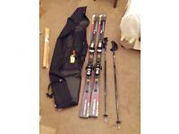 Salomon Streetracer 10 Skis (1.7m long, 12.9m rad), Scott Aluminium Poles (1.2m long) and Bag.