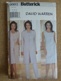 Butterick 6001 David Warren Jacket, Dress, Top & Pants Sewing Pattern Sizes 8-12 Mostly Uncut