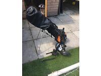 Kids golf set bag and trolley