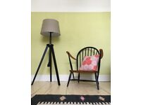 Blonde Ercol Windsor Armchair with Solid Elm and Black Beech Frame