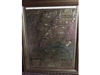 Gold effect framed map of old Scotland