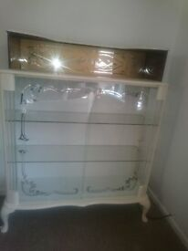 Shabby chic glass display cabinet / drinks cabinet