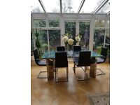6-8 seater extendable dining table with 6 chairs