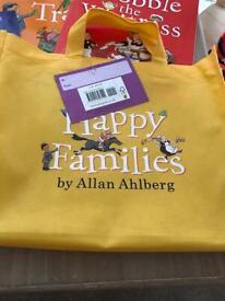Happy family books & bag vgc
