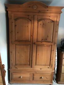 Beautiful waxed wooden double wardrobe