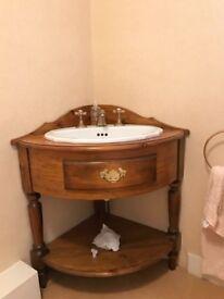 antique pine corner vanity unit with vernon tut bury basin and brass colour taps