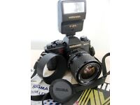 MIRANDA MS-3 35mm SLR CAMERA WITH SIGMA f3.5 28-70mm ZOOM LENS, FLASH, INSTRUCTIONS & CASE £32 ovno