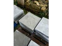 Standard grey 450x450x50mm Riven concrete paving slabs