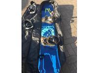 Atomic snowboard, burton bindings