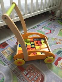 WOODEN PUSH ALONG WITH BLOCKS