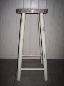 Kitchen stool. Shabby Chic with pretty decoupaged top. Pale green with floral seat.