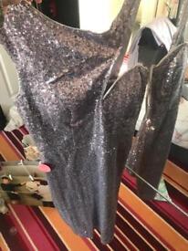 Chi chi London Grey Sequin Dress