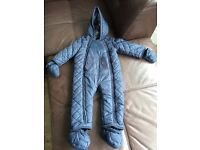 Blue quilted snowsuit - 9-12 months