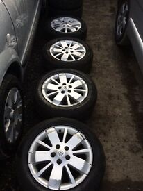 "full set of Renault Laguna alloy wheels lazuli style, 3 very good tyres, 205 55 R16 5 stud 15"","