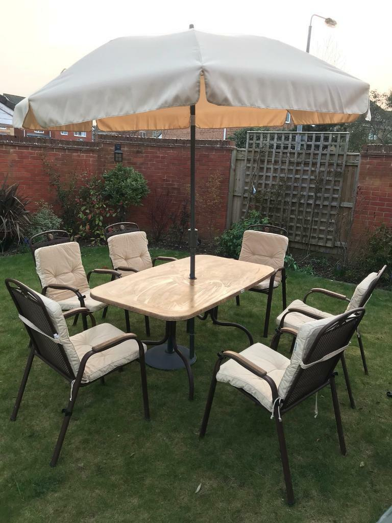 Patio table set 61inch x 35inch garden furniture