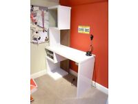 Desk with funky storage from Next. Logan desk. Contemporary white gloss finish whith wood effect.