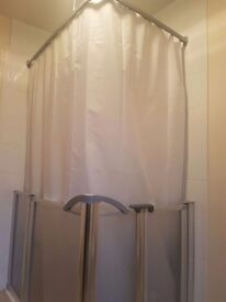 Disabled shower enclosure with tray, rail, curtain etc