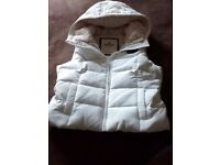 Ladies White Hollister Sherpa Lined Puffa Vest (Gilet) - Large