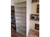 2 white bookshelves - library