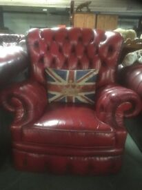 Character Filled Chesterfield Monk Back Chair in Oxblood Leather - UK Delivery