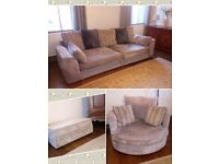 Three piece suite, 4 seater sofa, snuggle chair and storage footstool