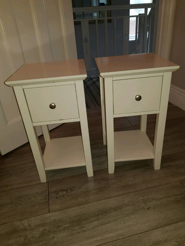 Set Of 2 Marks Spencer Hastings Ivory Compact Bedside Chest Drawers