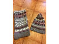 Face face hat and scarf set nearly new condition