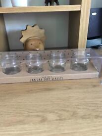 Jam jar shot glasses BNIB