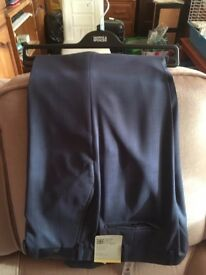 M&S Italian Fabric Pure Wool Flat Front Blue Trousers - Waist 97cm, Leg 84cm (Brand New with Tags)