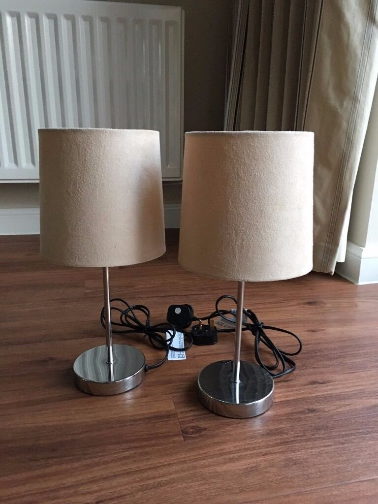 Set of 2 homebase bedside table lamps beige chrome touch control set of 2 homebase bedside table lamps beige chrome touch control 12 geotapseo Image collections