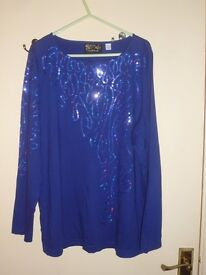 Blue Sequined Top Size L