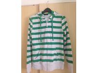 Ladie's Brand New Green/White striped thin zipper