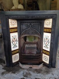 Edwardian Fireplace in tact with tiles.