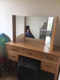 Next oak dressing table with mirror and stall