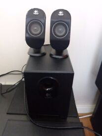 logitech x210 subwoofer and speakers