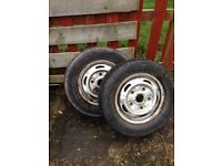 Pair of transit wheels and tyres. £30 the pair
