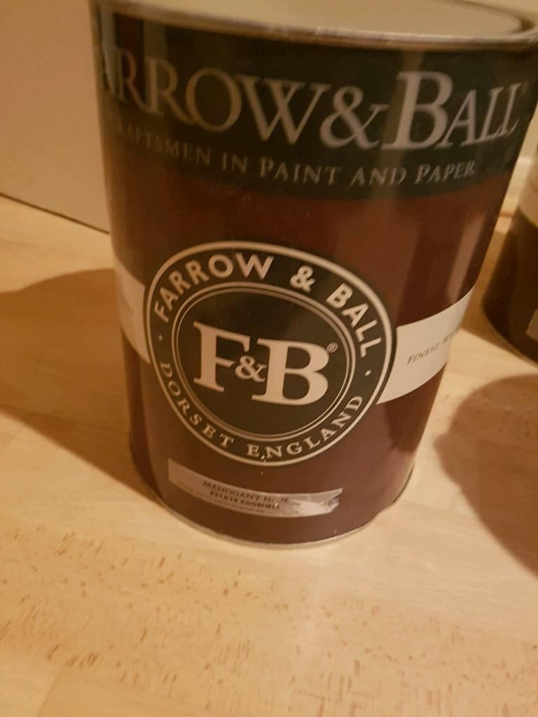 Farrow and ball 5 litre tins of new paint no 36 mahogany