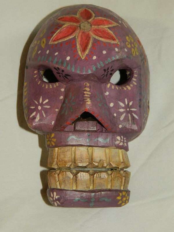 "Hand Carved & Painted Purple Guatemalan Wood Folk Art Skeleton Fantasy Mask 10"""