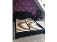 King size black faux leather bed frame