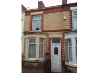 Terraced House Briarwood Rd. L17 7DH. Close to Sefton Pk. Two large bedrooms Large Yard/garden