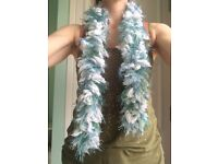 White, green and blue Hand Knitted soft delicate warm Scarf