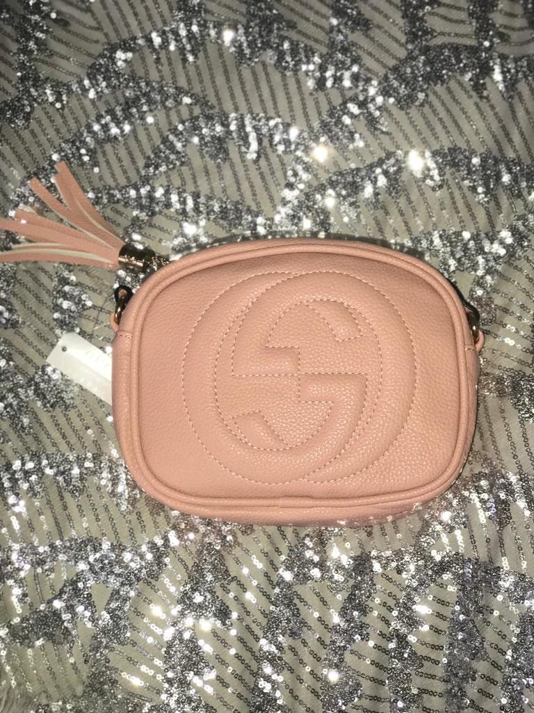 Women s GG Soho Leather Inspired Handbag Pink Gold Fashion UK ... 17494962cf7eb