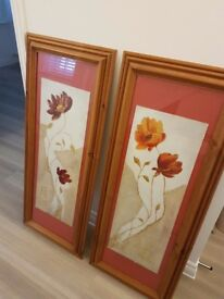 2 x pine long picture frames