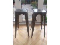 Tolix gun metal grey bar stools